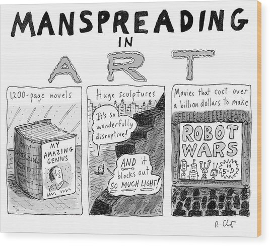 Manspreading In Art Wood Print