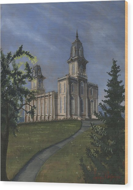 Manti Temple East Doors Wood Print