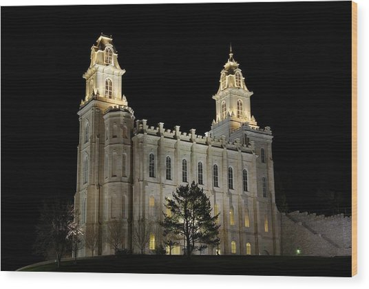 Manti Temple Night Wood Print