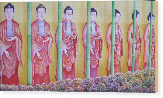 Many Budhas Wood Print by Hiske Tas Bain