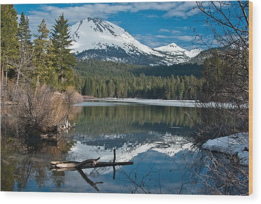 Manzanita Lake Reflects On Mount Lassen Wood Print