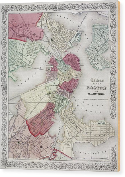 Map: Boston, 1865 Wood Print