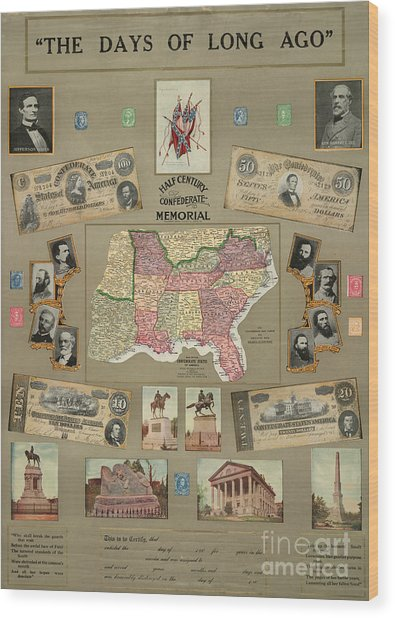 Map: Confederate States Wood Print