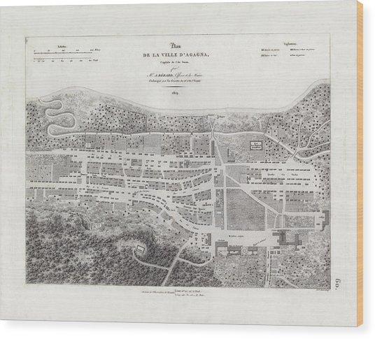 Map Of Agana Village Guam Wood Print