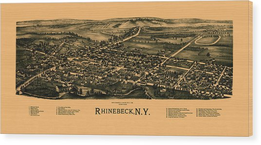 Map Of Rhinebeck 1890 Wood Print
