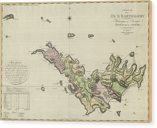 Map Of Saint Barts 1801 Wood Print
