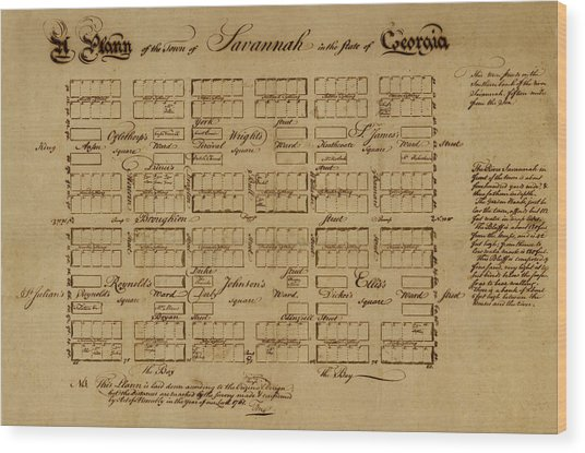 Map Of Savannah 1761 Wood Print
