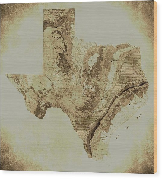 Map Of Texas In Vintage Wood Print