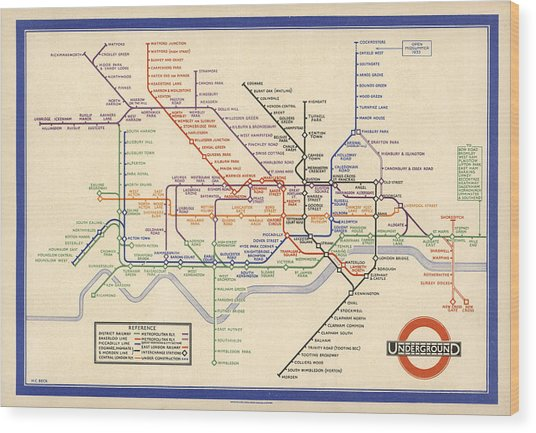 Map Of The London Underground - London Metro - 1933 - Historical Map Wood Print