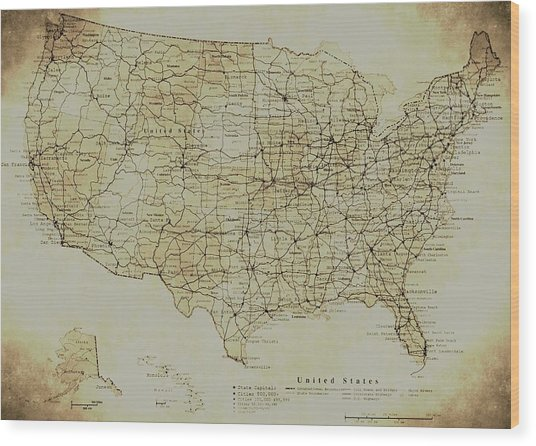 Map Of The United States In Digital Vintage Wood Print