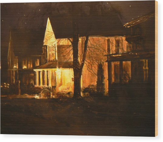 Maple Avenue Nocturne Wood Print by Thomas Akers