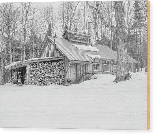 Maple Sugar Shack Stowe Vermont Wood Print