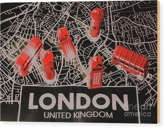 Maps From London Town Wood Print