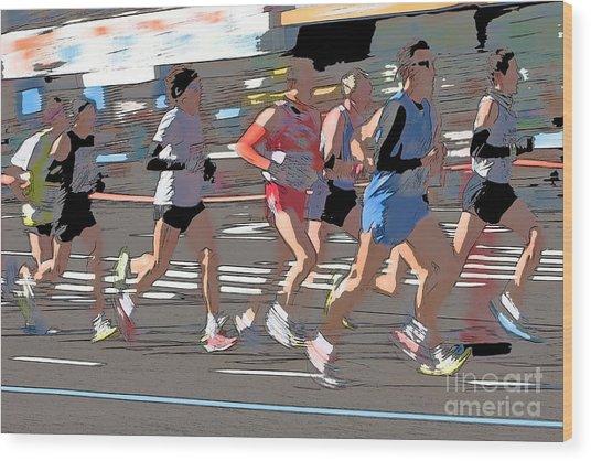 Marathon Runners II Wood Print