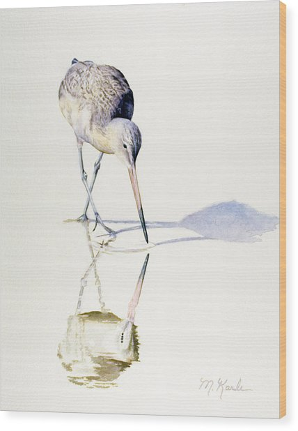 Marbled Godwit Times Three Wood Print
