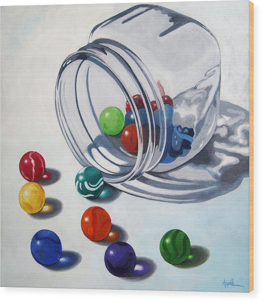 Marbles And Glass Jar Still Life Painting Wood Print
