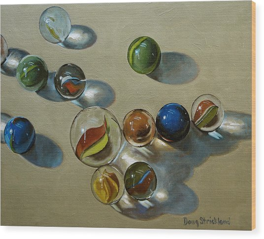 Marbles Wood Print by Doug Strickland
