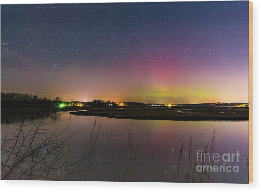 March 6 Aurora Over Scarborough Marsh  Wood Print