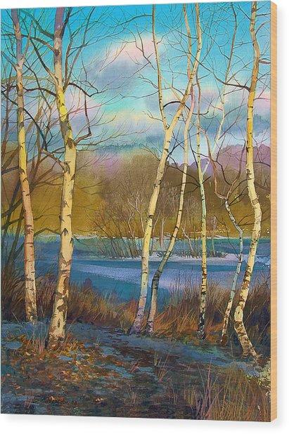 March. Birches Wood Print