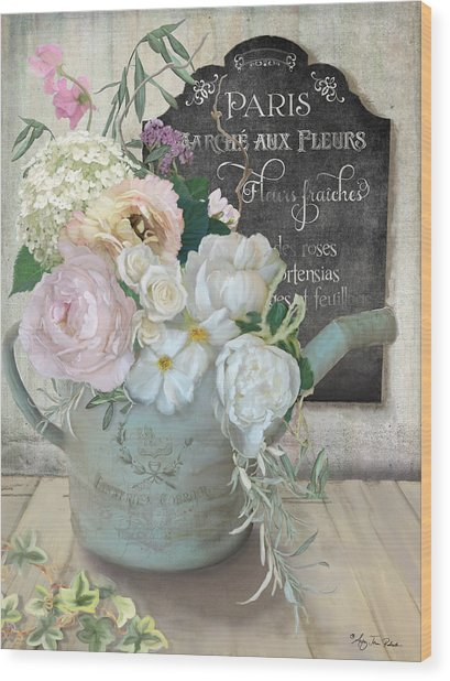 Marche Paris Fleur Vintage Watering Can With Peonies Wood Print
