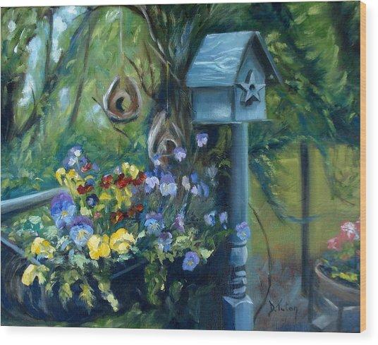 Marcia's Garden Wood Print