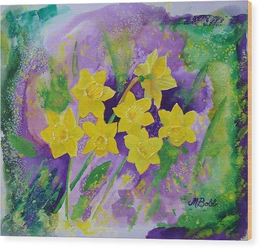 Mardi Gras Daffodils Wood Print
