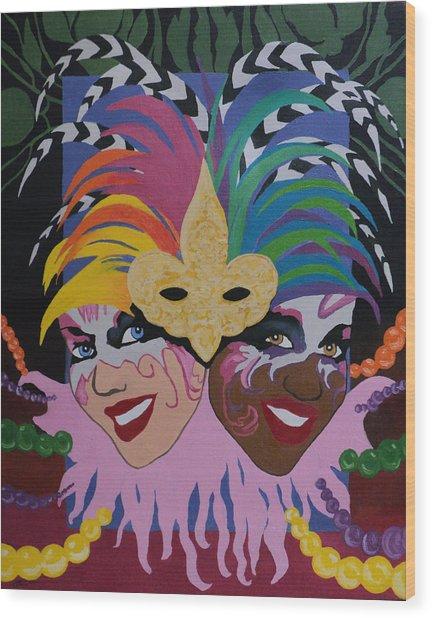 Mardi Gras In Colour Wood Print