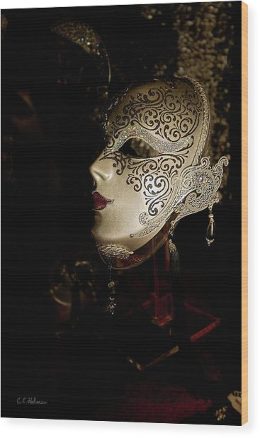 Mardi Gras Mask Wood Print