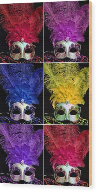 Mardi Gras Mask Collage 2 Wood Print