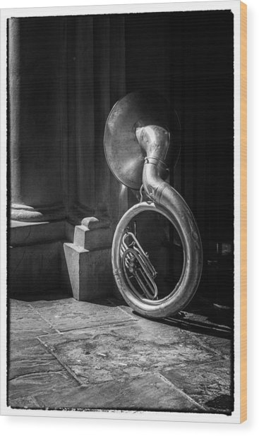 Mardi Gras Tuba At Jackson Square Wood Print