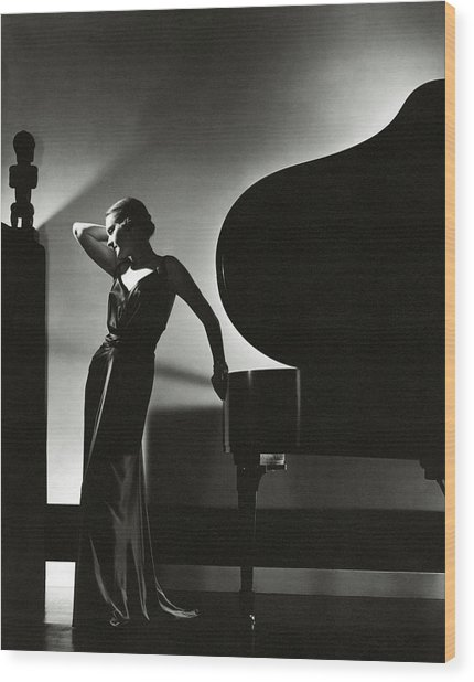 Margaret Horan Posing Beside A Piano Wood Print by Edward Steichen
