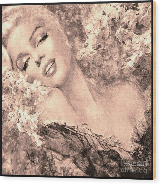 Marilyn Cherry Blossom, B Sepia Wood Print