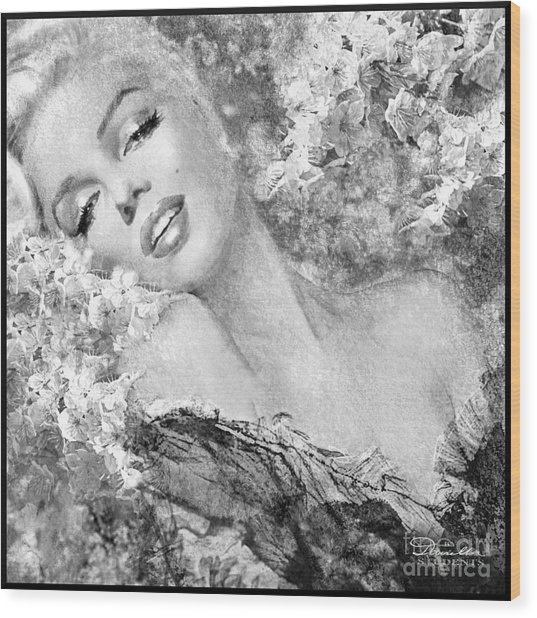 Marilyn Cherry Blossom Bw Wood Print