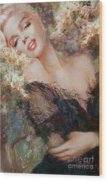 Marilyn Cherry Blossom Wood Print