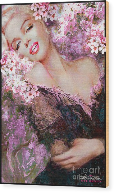 Marilyn Cherry Blossoms Pink Wood Print