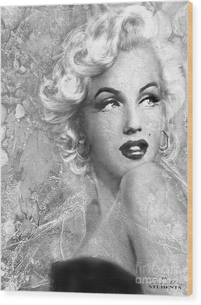Marilyn Danella Ice Bw Wood Print