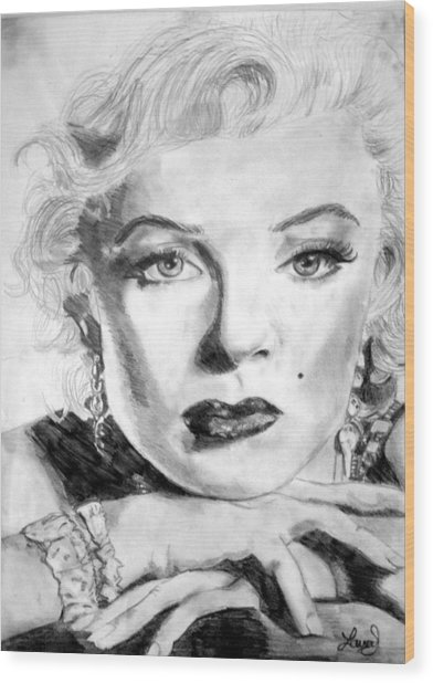 Marilyn In Pose Wood Print by Laura Seed