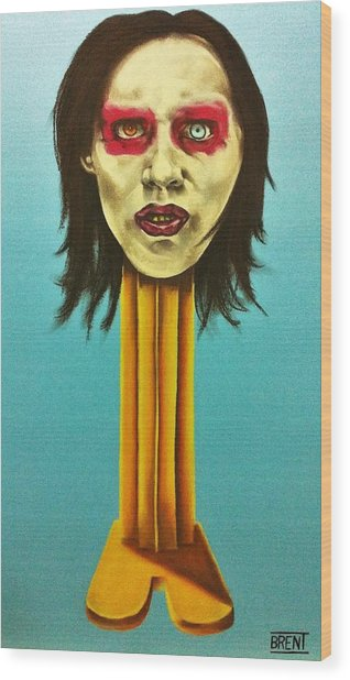 Marilyn Manson Wood Print by Brent Andrew Doty