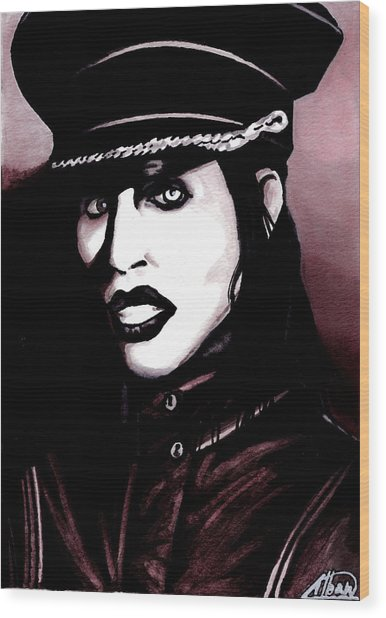 Marilyn Manson Portrait Wood Print by Alban Dizdari