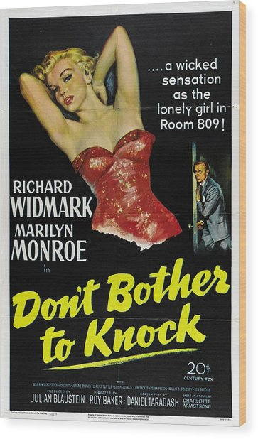 Marilyn Monroe And Richard Widmark In Don't Bother To Knock Wood Print