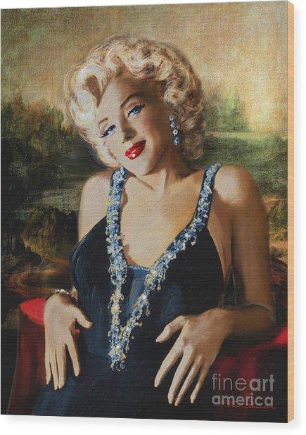 Marilyn Monroe  Mona Lisa  Wood Print