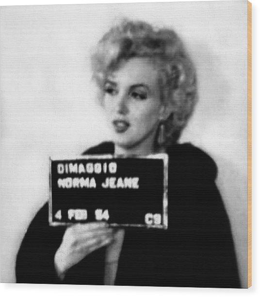 Marilyn Monroe Mugshot In Black And White Wood Print
