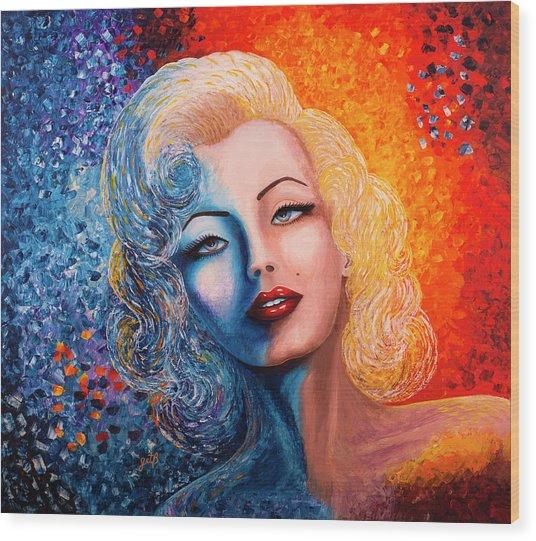 Wood Print featuring the painting Marilyn Monroe Original Acrylic Palette Knife Painting by Georgeta Blanaru