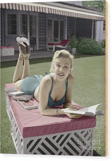 Marilyn Monroe Summer Reading Wood Print