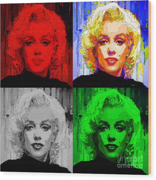 Marilyn Monroe - Quad. Pop Art Wood Print