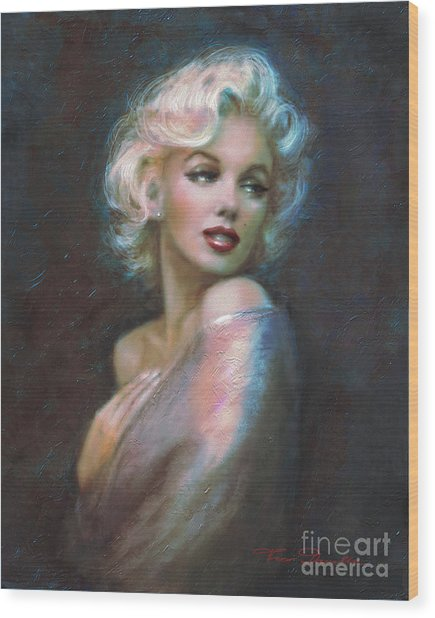 Marilyn Romantic Ww Dark Blue Wood Print