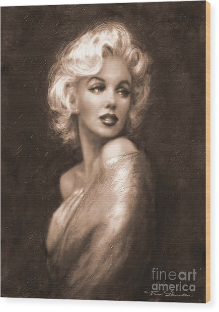 Marilyn Ww Sepia Wood Print