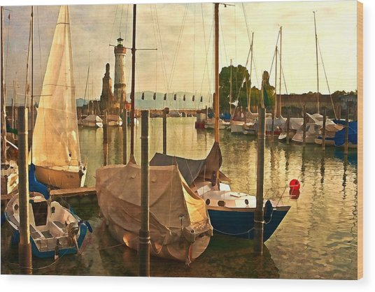 Marina At Golden Light - Digital Paint Wood Print