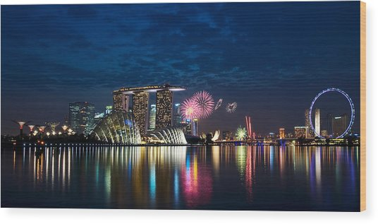 Marina Bay In Panorama Wood Print