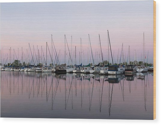 Marina In Pink - Peaceful Boat Reflections Wood Print